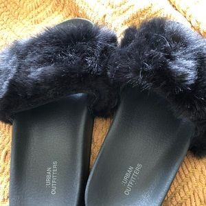 Urban Outfitters Fuzzy Slide Sandals